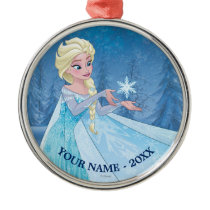 Elsa | Catching Snowflake Add Your Name Metal Ornament