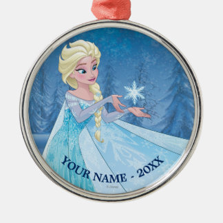 Elsa   Catching Snowflake Add Your Name Metal Ornament
