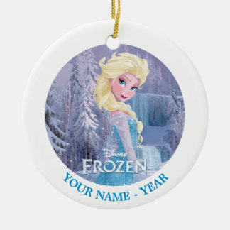 Elsa el   con el logotipo congelado añade su adorno navideño redondo de cerámica