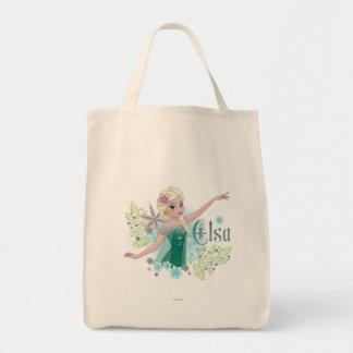 Elsa el | que da del corazón bolsa tela para la compra
