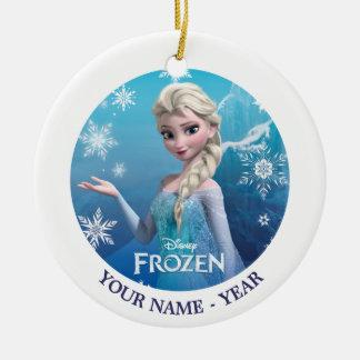 Elsa la reina de la nieve personalizada adorno redondo de cerámica