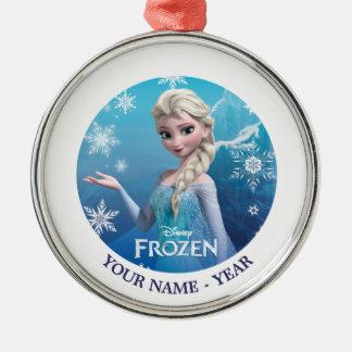 Elsa la reina de la nieve personalizada adorno redondo plateado