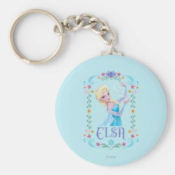 Basic Button Keychain with Elsa the Snow Queen's Powers Are Strong design