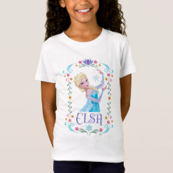 Girls' Fine Jersey T-Shirt with Elsa the Snow Queen's Powers Are Strong design