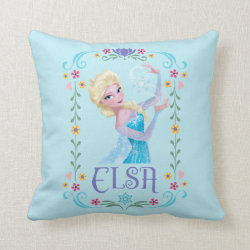 Cotton Throw Pillow with Elsa the Snow Queen's Powers Are Strong design