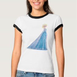 Ladies Ringer T-Shirt with Frozen's Princess Elsa the Snow Queen design