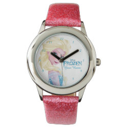 Kid's Pink Glitter Strap Watch with Frozen's Princess Elsa the Snow Queen design
