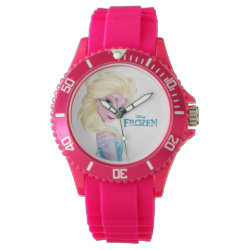 Women's Sporty Pink Silicon Watch with Frozen's Princess Elsa the Snow Queen design