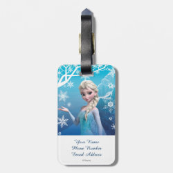 Small Luggage Tag with leather strap with Frozen's Princess Elsa of Arendelle design