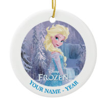 Elsa | With Frozen Logo Add Your Name Ceramic Ornament