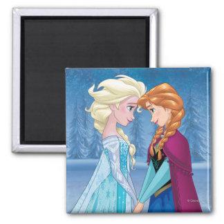 Elsa y Ana - junto para siempre Imán Cuadrado
