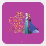 Elsa y Ana que se colocan de nuevo a la parte post Pegatina Cuadradas Personalizadas