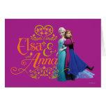 Elsa y Ana que se colocan de nuevo a la parte post Tarjetón