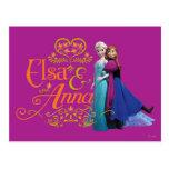 Elsa y Ana que se colocan de nuevo a la parte post Postal