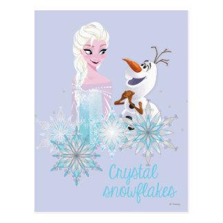 Elsa y Olaf - copos de nieve cristalinos Tarjetas Postales