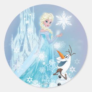 Elsa y Olaf - resplandor helado Pegatina Redonda