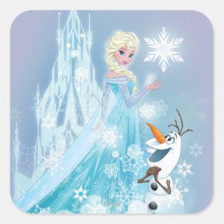 Elsa y Olaf - resplandor helado Pegatina Cuadrada