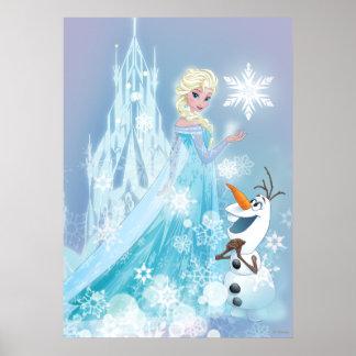 Elsa y Olaf - resplandor helado Póster