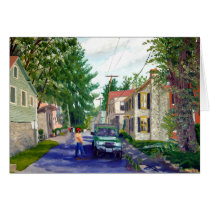 Elsah Illinois Streetscape Landscape Painting Card