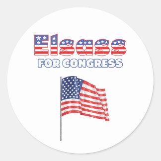 Elsass para la bandera americana patriótica del etiqueta redonda