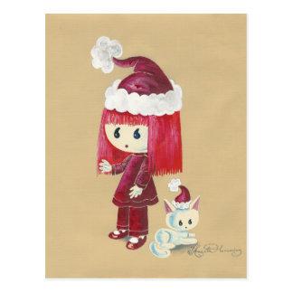 Elsie The Christmas Elfie Painting Postcard