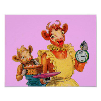 Elsie the Cow and daughter Beulah - It's Cake Time Poster