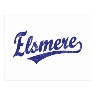 Elsmere script logo in blue postcard