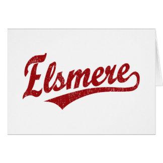 Elsmere script logo in red card