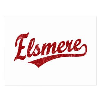 Elsmere script logo in red postcard