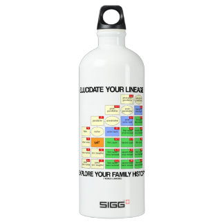 Elucidate Your Lineage Explore Your Family History Aluminum Water Bottle