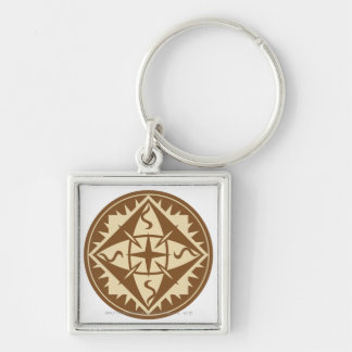 Elven Flag Silver-Colored Square Keychain