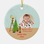 Elves and a Christmas tree holiday photo ornament