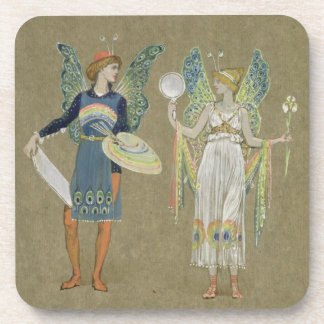 Elves and Fairy Painters, from 'The Snowman' 1899 Beverage Coaster