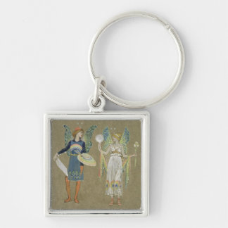 Elves and Fairy Painters, from 'The Snowman' 1899 Silver-Colored Square Keychain