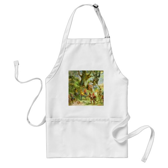 Elves and Gnomes in the Deep Dark Magical Forest Adult Apron
