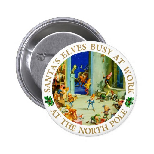 Elves Are Busy at Santa's North Pole Workshop Button