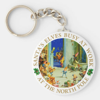 Elves Are Busy at Santa's North Pole Workshop Keychain