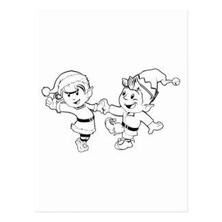 Elves Christmas Dancing Postcards