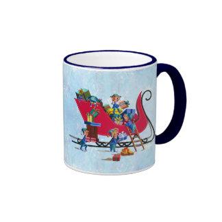 ELVES FILLING SANTA S SLEIGH by SHARON SHARPE Coffee Mug