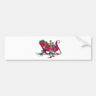 ELVES FILLING SANTA'S SLEIGH by SHARON SHARPE Bumper Sticker