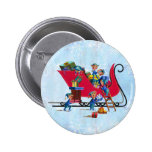 ELVES FILLING SANTA'S SLEIGH by SHARON SHARPE Pinback Buttons