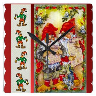 Elves go carol singing square wall clock