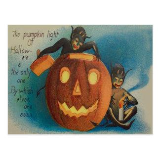 Elves Goblins Candle Jack O' Lantern Pumpkin Postcard