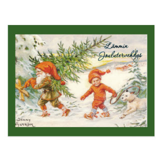 Elves Harvesting Christmas Trees Post Cards