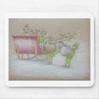 Elves loading gifts mouse pad