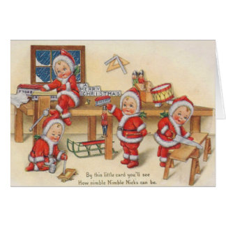 Elves Making Toys Card