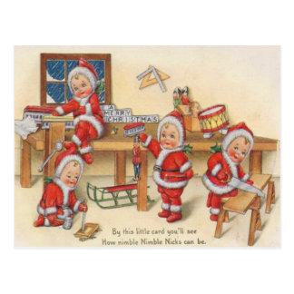 Elves Making Toys Postcard