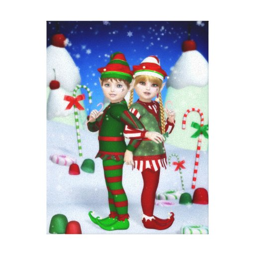 Elves of Candy Mountain Stretched Canvas Print
