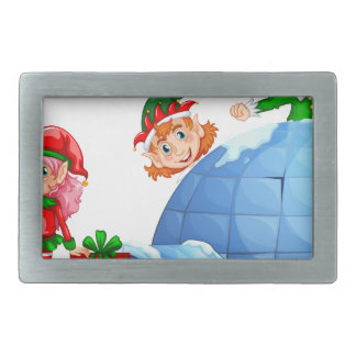 Elves playing outside the igloo belt buckle