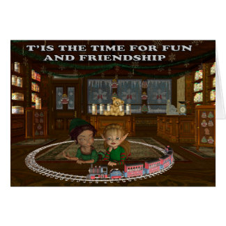 Elves playing with a train greeting cards